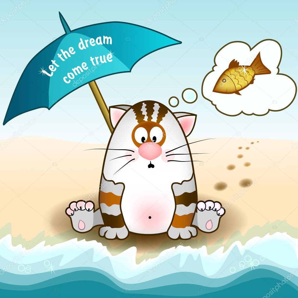 Cat sits on the beach and dreams of fish, under an umbrella