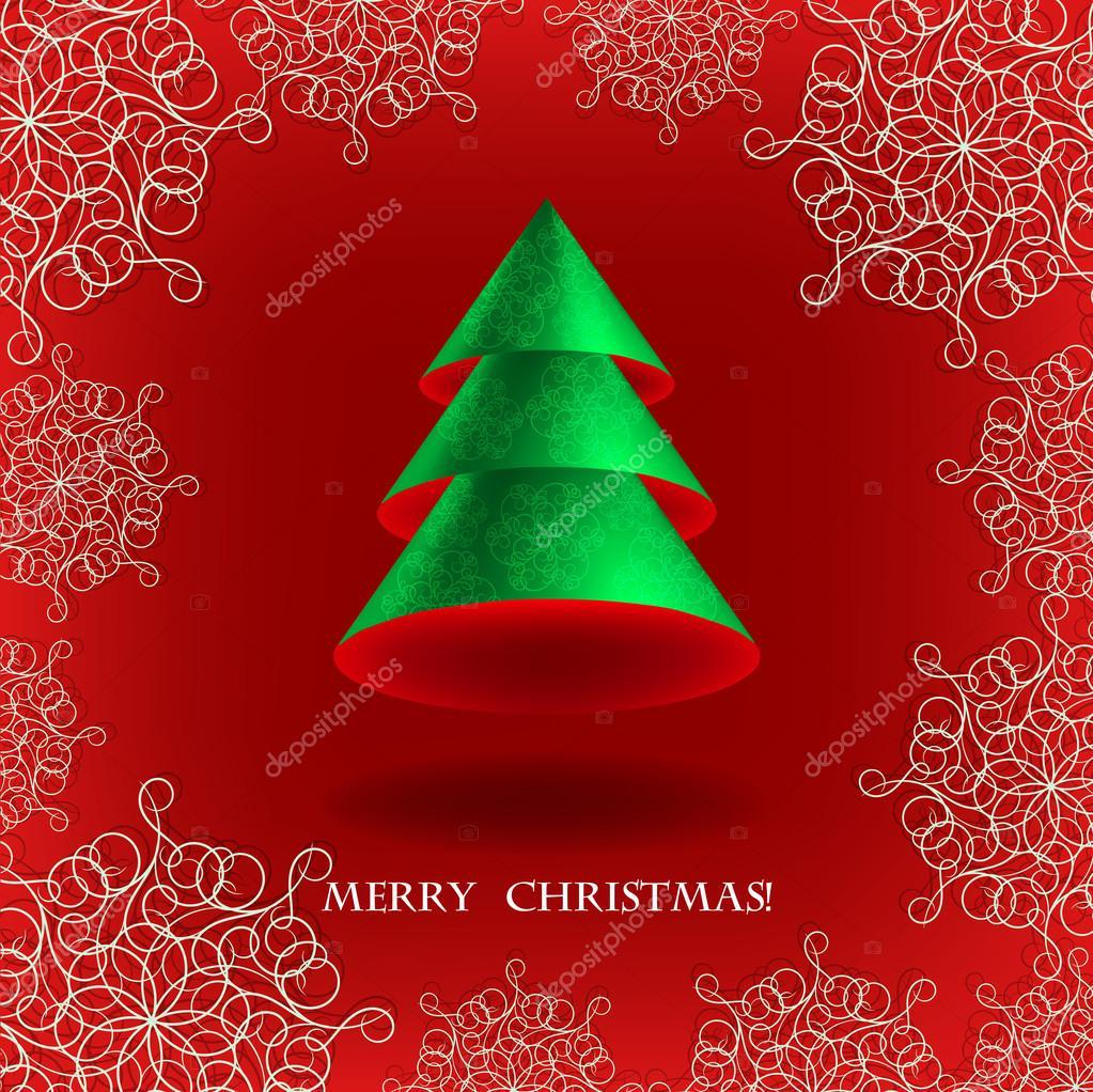 Original Tarjeta De Navidad Con El Volumen Del Arbol De Navidad - Tarjeta-de-navidad-original