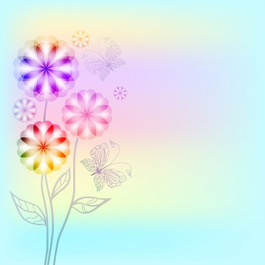 Bouquet of flowers with butterflies on a light background watercolor