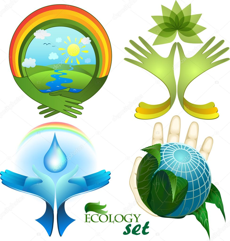 Ecological design, a set of icons, each element is isolated on a separate layer