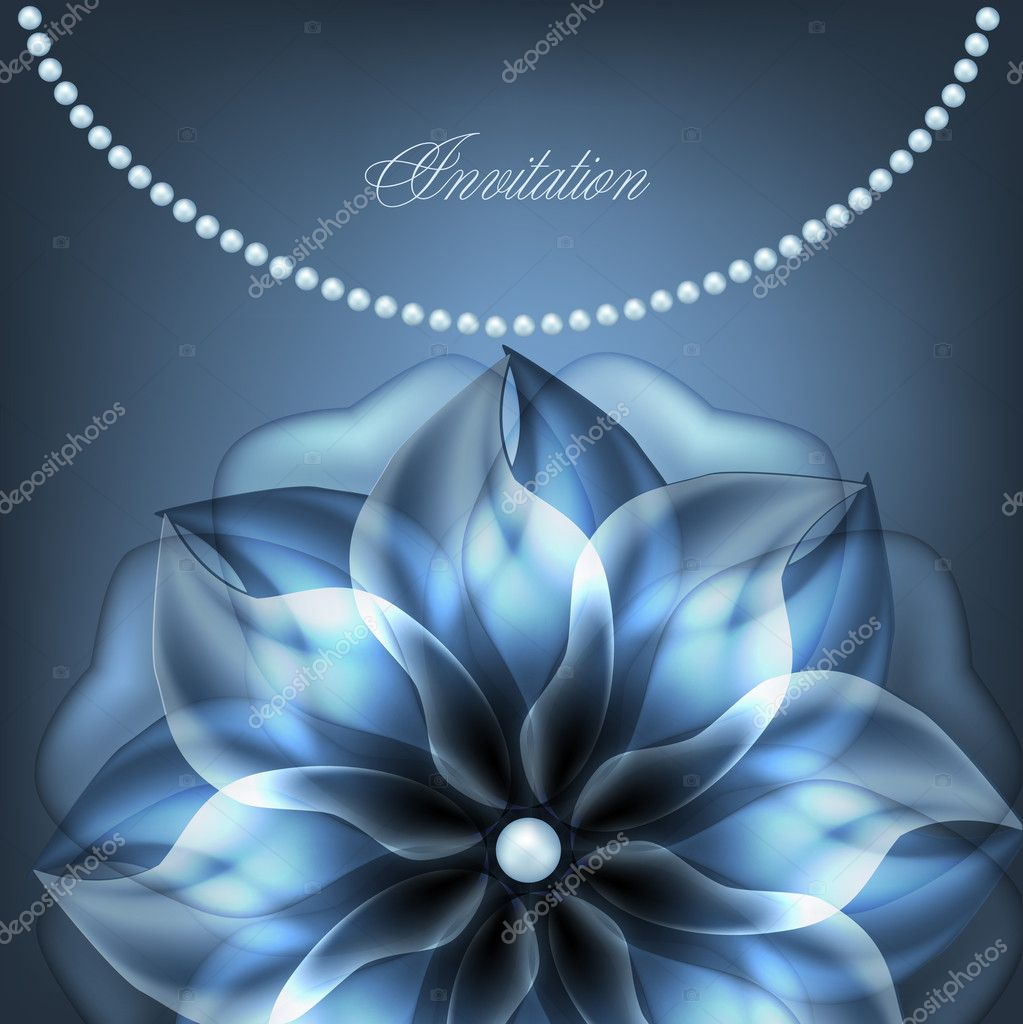 Pearl necklace with blue flower.