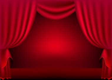 A scene with a red curtain background