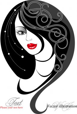Silhouette of woman with long hair and an abstract pattern