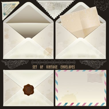 Set of vintage design elements and envelopes