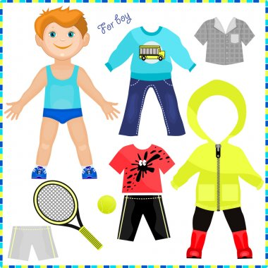 Paper doll with a set of clothes. Cute trendy boy.