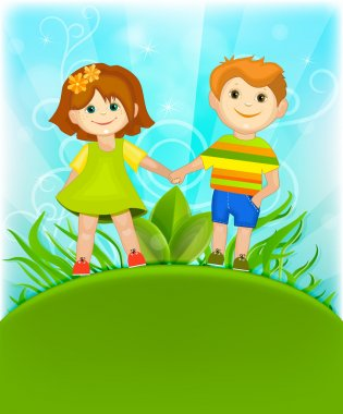 Boy and girl holding hands against the blue sky.
