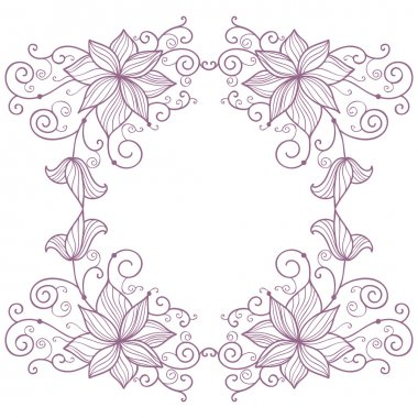 Lace floral frame isolated on white background
