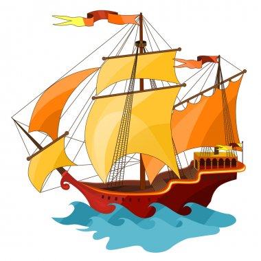 Two-masted sailing ship.