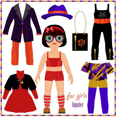 Paper doll with a set of fashion clothes. Cute hipster girl.