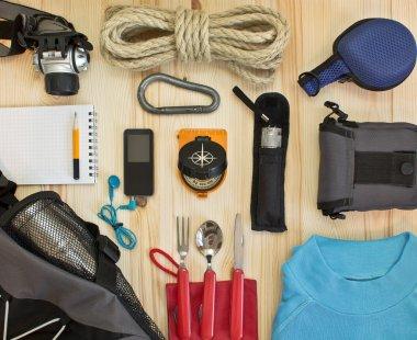 Travel kit modern traveler scout stock vector