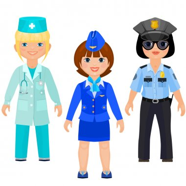 Pretty girls in uniform of doctors, police and stewards