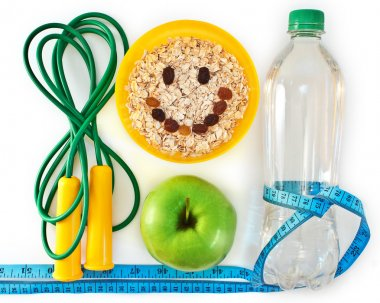Bottle of water, muesli and green apple. Attributes of a healthy lifestyle stock vector
