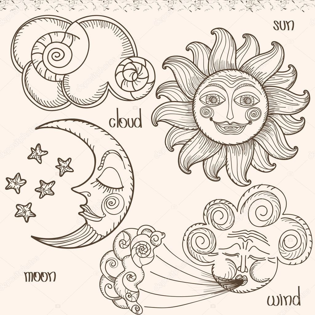 Image of the sun, moon, wind and clouds.