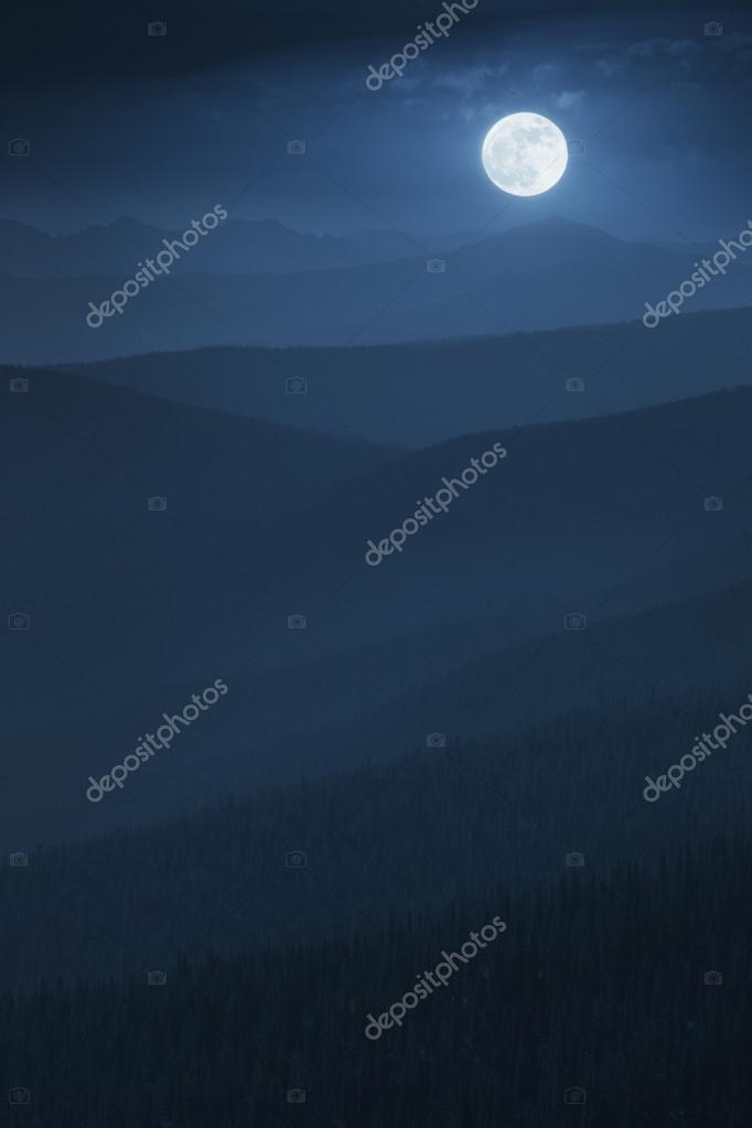 Beautifully Layered Midnight Misty Mountain Moonrise With Vast Forest