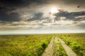 Fotografie dramatické východ slunce nad kansas tallgrass prairie zachovat národní park