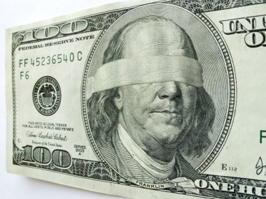 Blindfolded Ben Franklin One Hundred Dollar Bill Illustrates Economic Uncertainty