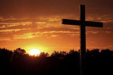 Dramatic Sky Orange Clouds Bright Yelllow Sun Large Christian Cross
