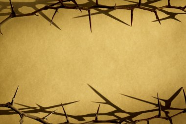 Thorns Against Parchement Paper Represent Jesus Dying on the Cross