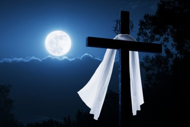 New Easter Morning Christian Cross Concept Jesus Risen at Night