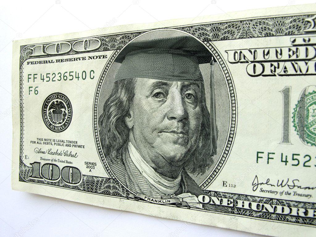Ben Franklin Wearing Graduation Cap on One Hundred Dollar Bill