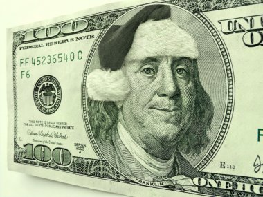 Ben Franklin Wearing Santa Hat For Christmas On This Hundred Dollar Bill Makes An Interesting Holiday Season Shopping Image