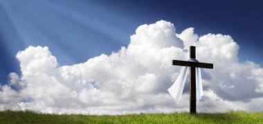 Dramatic Panorama Easter Sunday Morning Sunrise With Cross On Grassy Hill