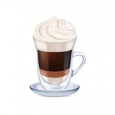 milk coffee with whipped cream isolated