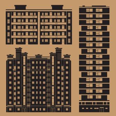 Buildings set with european block houses - monochrome