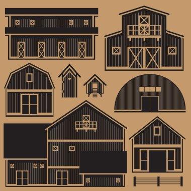 Buildings set with farm - monochrome