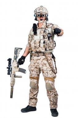 soldier man holding Machine gun shoot