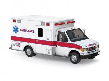 Ambulance Car Isolated on White Background. Perspective Top View