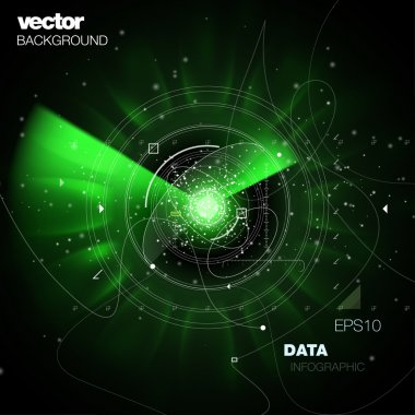 Future technology space vector background with fine details. High tech visionary interface dashboard with space flares and tunneling radial blur speed effect.