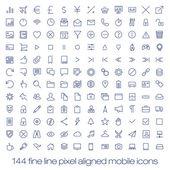 Fotografia 144 icone moderne allavanguardia per interfaccia mobile. pixel della linea sottile allineato icone ui mobile con larghezza variabile riga