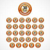 Fotografie 30 Days Money Back Guarantee badges icons in 30 languages (eng, he, ar, th, tr, es, sv, sl, sk, ru, ro, pt, pb, pl, no, it, hu, hi, el, de, fr, fi, nl, da, cs, hr, zh, zg, ko, ja).