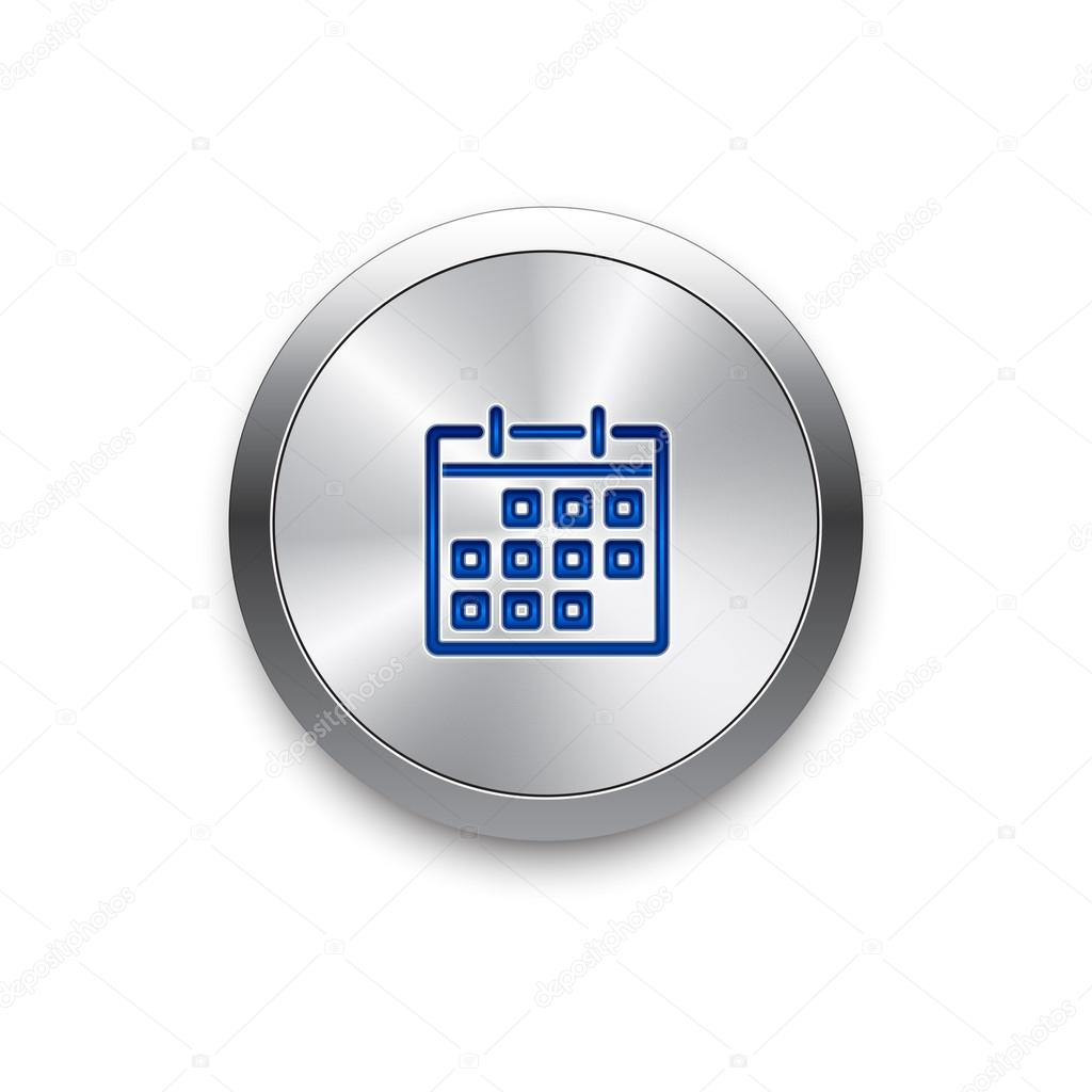 Calendar icon  Vector metal app button — Stock Vector