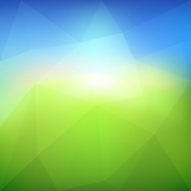 Vector green leaf ecology on lighting blue and green background