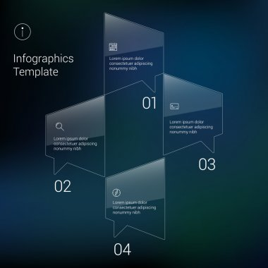 Modern Design Minimal style infographic template layout. Infographics, numbered banner, horizontal cutout lines, graphic or website layout vector with icons on blurred background.