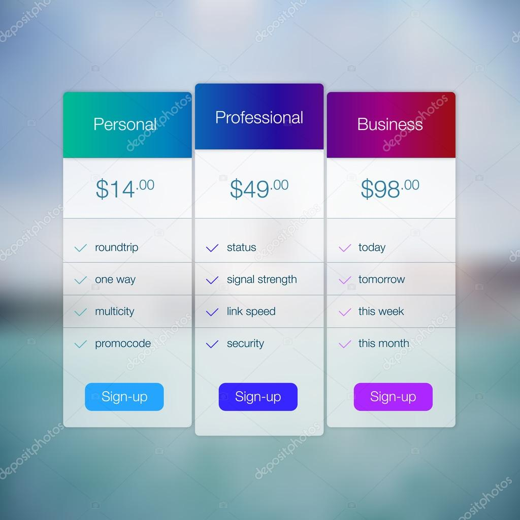 Modern Website Ui Template Design. Transparent App User Interface Price List  Widget Buttons On Minimalistic