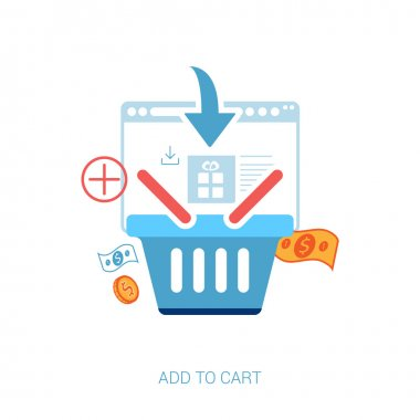 Flat design icons for online shopping. Add to basket, bag or cart e-commerce vector illustration concept.