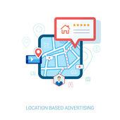 Modern lapos design ikonok mobiltelefonján vagy smartphone hely alapú reklám. check-in, hotel, étterem, kapcsolat, l Értékelés és összefüggésben hirdetések koncepció vektoros illusztráció
