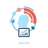 Fotografia piatto icona impostato per analitica, database, ricerca e concetto di illustrazione vettoriale dati big