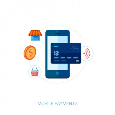 Set of modern flat design icons for mobile payments and nfc. Interface elements for mobile apps concepts.