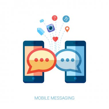 Flat design vector illustration concept. Mobile messaging apps trends icons. set of communicating speech bubbles from mobile phones.
