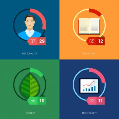 Flat icon infographic template set for education, statistic, person, ui, ecology and environment. Part to whole ratio sector pie chart illustration.