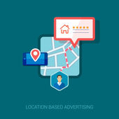Set of modern flat design icons for mobile or smartphone location based advertising. Place check-in, hotel, restaurant or other place social rating and context ads concept vector illustration.