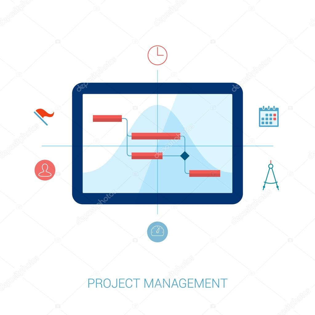 Flat style project management planning resource allocation and flat style project management planning resource allocation and gantt chart on computer vector icons ccuart Images