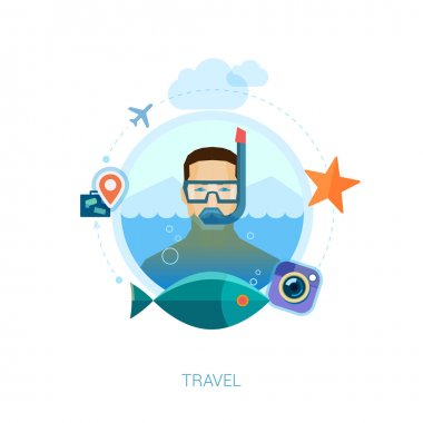 Snorkeling man over sea waters vector illustration. Modern flat design icons concept for travel, leisure, vacation, swimming and diving, fishing and tropical holidays.