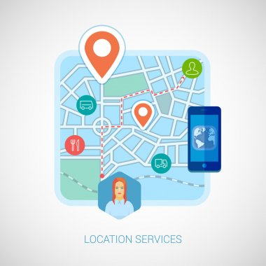 Flat design vector illustration concepts for location services, maps and navigation. Concepts for web banners and printed materials. Online and mobile map for smartphones vector illustration.