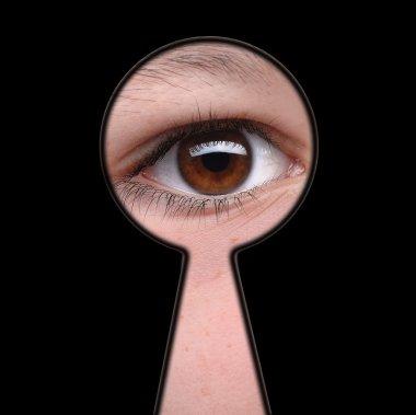 Man see you! - man looking through keyhole