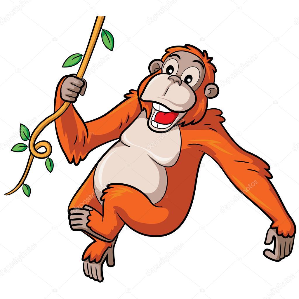 orangutan cartoon stock vector  u00a9 rubynurbaidi 51556863 clipart orangutan hanging orangutan clipart black and white
